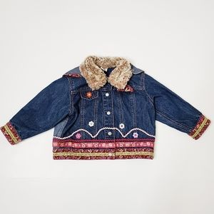 Oilily Denim Jean Jacket Embroidered Size 98/3T